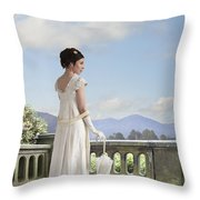 Beautiful Regency Woman Admiring The View From The Terrace Throw Pillow