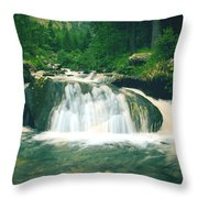 Beautiful River Flowing In Mountain Forest Throw Pillow