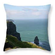 Beautiful Rocky Towering Sea Cliffs Along The Cliff's Of Moher Throw Pillow