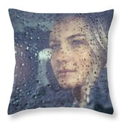 Beautiful Sad Woman In The Car Throw Pillow