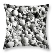 Beautiful Seashells Black And White Throw Pillow