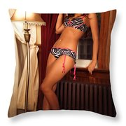 Beautiful Sexy Woman At A Window Throw Pillow