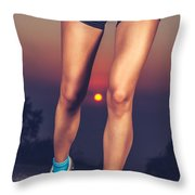 Beautiful Sportive Womens Legs Throw Pillow