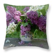 Beautiful Spring Flowers In A Vase Throw Pillow