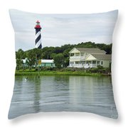 Beautiful St Augustine Lighthouse Waterfront Throw Pillow