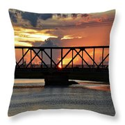 Beautiful Sunset Bridge  Throw Pillow