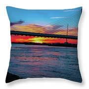 Beautiful Sunset Under The Bridge Throw Pillow