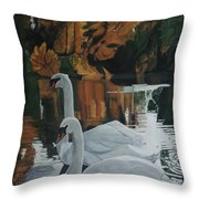 Beautiful Swans Moving In The River Path Throw Pillow