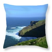 Beautiful Sweeping Views Of Ireland's Cliff's Of Moher Throw Pillow