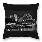 Beautiful Sydney Harbour In Black And White Throw Pillow