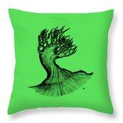 Beautiful Tree In Color Nature Original Black And White Pen Art By Rune Larsen Throw Pillow