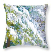Beautiful Trees Covered With Snow In Winter Park Throw Pillow