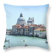 Beautiful View Of Water Street And Old Buildings In Venice, Ital Throw Pillow
