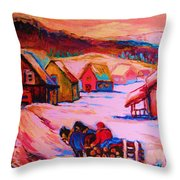 Beautiful Village Ride Throw Pillow