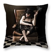 Beautiful Vintage Fashion Girl In Grunge Interior Throw Pillow by Jorgo Photography - Wall Art Gallery