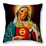 Beautiful Virgin Mary Sacred Heart Throw Pillow