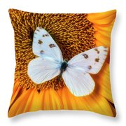 Beautiful White Butterfly On Sunflower Throw Pillow