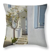 Beautiful White Mediterranean Architecture With Blue Frames. Throw Pillow