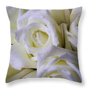 Beautiful White Roses Throw Pillow