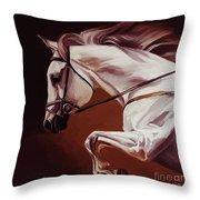 Beautiful White Running Horse 9iu Throw Pillow
