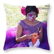Beautiful Woman Day Of Dead IIi Throw Pillow