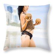 Beautiful Woman In Beach Heaven Throw Pillow