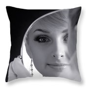 Beautiful Woman In Bridal Veil Looking At A Mirror Throw Pillow