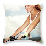 Beautiful Woman On The Bicycle Throw Pillow