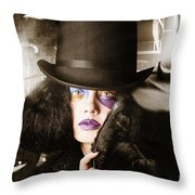 Beautiful Woman With Dark Hairstyle And Makeup Throw Pillow