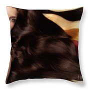 Beautiful Woman With Hair Extensions Throw Pillow