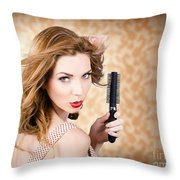 Beautiful Woman With Short Red Hair. Hairdressing Throw Pillow