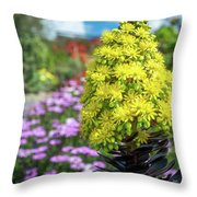 Beautiful Yellow Flowers On A Garden Background Throw Pillow