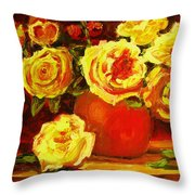 Beautiful Yellow Roses Throw Pillow