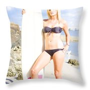 Beautiful Young Blond Surf Woman Throw Pillow
