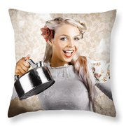 Beautiful Young Retro Woman With Cup Of Coffee Throw Pillow