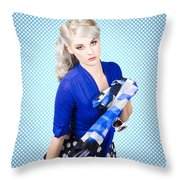 Beautiful Young Woman Holding Sunglasses And Scarf Throw Pillow
