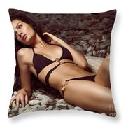 Beautiful Young Woman In Black Bikini On A Pebble Beach Throw Pillow by Oleksiy Maksymenko