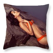 Beautiful Young Woman In Orange Bikini Throw Pillow