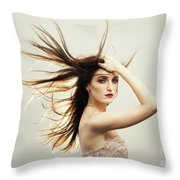 Beautiful Young Woman With Windswept Hair Throw Pillow