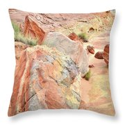 Beautifully Colored Boulders In Wash 3 - Valley Of Fire Throw Pillow