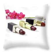 Beauty And Esthetics Care. Lipsticks And Flowers Throw Pillow