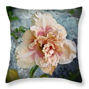 Beauty And The Boulder - Daylily Throw Pillow