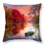 Beauty At The Lake Throw Pillow by Debra and Dave Vanderlaan
