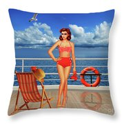 Beauty From The 50s In Bikini  Throw Pillow