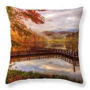 Beauty Of The Lake In Autumn Deep Tones Throw Pillow