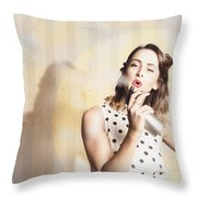 Beauty Parlour Pinup Throw Pillow