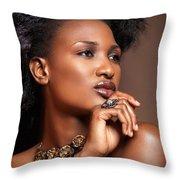 Beauty Portrait Of Black Woman Wearing Jewelry Throw Pillow