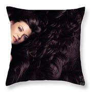 Beauty Portrait Of Woman Surrounded By Long Brown Hair  Throw Pillow