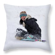 Beauty Sliding Backwards With A Smile Throw Pillow