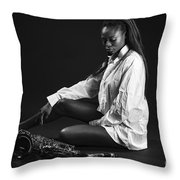 Beauty With Sax Throw Pillow